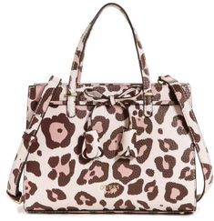 2002adcb63b1 GUESS Leila Small Girlfriend Leopard-Print Satchel Satchel Purse, Satchel  Handbags, Leather Handbags