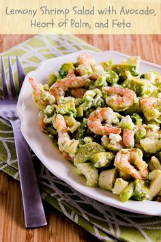 Lemony Shrimp Salad with Avocado, Heart of Palm, and Feta; this salad is so amazing.  [from KalynsKitchen.com] #LowCarb #GlutenFree #SouthBeachDiet