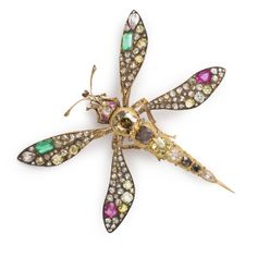 Antique Jeweled Mosquito Brooch