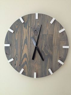 Picture wall With Clock - Large Gray Modern Wood Clock, Pallet Wood Clock, Reclaimed Wood Clock, Large Wall Clock, Unique Wall Clock.