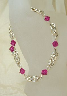 Silver Pink Byzantine Chain Mail Maille by ArtisticTouches on Etsy, $40.00