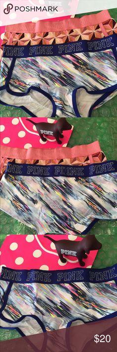 Bundle NWT VS PINK Logo BoyShort Medium New with tags Victoria Secret Pink logo BoyShorts size Medium , Fabric is 91% cotton and 9% Elastane, Bundle includes 2 pair of BoyShorts as shown PINK Victoria's Secret Intimates & Sleepwear Panties