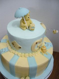 Classic Winnie the Pooh Baby Shower Cake - blue/white for boy, pink/white for girl