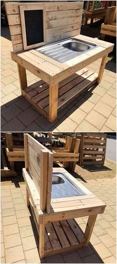 This is yet another one of the best ideas of using the wood pallet into some useful concepts. In this wood pallet idea you will search out the attractive styling of the sink. You can use this sink in any portion of the house no matter whether it is indoor or outdoor. #palletoutdoorfurniture