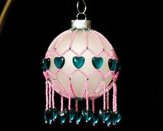 Victorian Bubble Gum hand beaded Christmas by GallopingGlass, $45.00