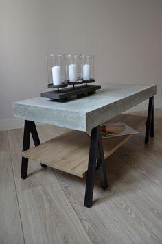 Table basse béton, bois chêne et métal acier
