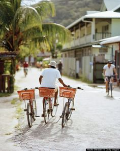La Digue, Seychelles- this place does not have any cars. People ride bikes or a cow taxi. It s one of the most romantic and beautiful place I have been to.