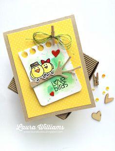 Love Birds card by Laura Williams for Paper Smooches - Feathered Friends stamps and dies, Notebook Basic Die, Trees 1 Dies