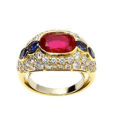 Bvlgari No Heat Burma Ruby and Sapphire Ring