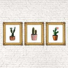 These watercolor herb botanical prints will look amazing in your kitchen or dining room. They make great housewarming gifts as well!      Succulent Cactus Bohemian Art Prints set of 6. Succulent printable art.