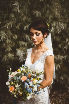 Lace Dress Gown Straps Bride Bridal Kenneth Winston Powder Blue Country Rustic Charm Wedding https://photography34.co.uk/