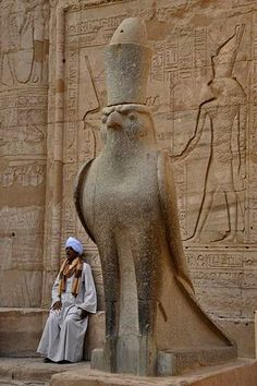 Statue of Horus in falcon form.   Horus was the son of the Great Goddess Isis, conceived by his virgin mother after the death of her brother-husband Osiris