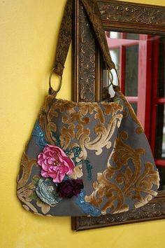 Spring flowers on  cut velvet  purse
