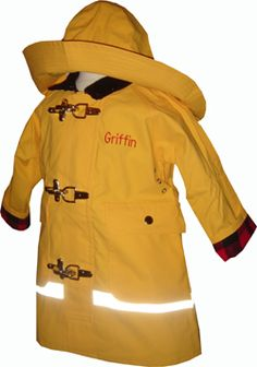 Yellow rain slicker with fisherman's hat... a classic, yet so hard to find. Via the monogram shop.