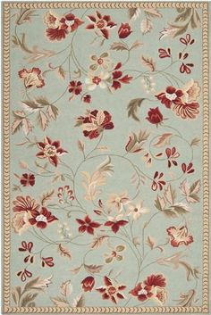 """Surya Flor Blue Flowers Scrolls Transitional 2' 3"""" x 8' Runner Rug (FLO-8997) by Surya. $203.00. Flor. Country and Floral. Made in China. 2' 3"""" x 8' Runner. Blue. Made of Wool. Save 33%!"""