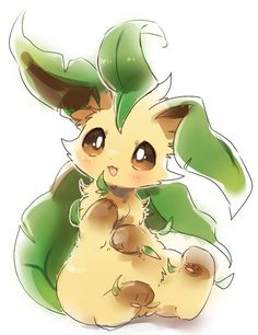 Leafeon - By Les Pokemon, Pokemon Sun, Cute Animal Drawings, Cute Drawings, Evolution Pokemon, Pokemon Mignon, Pokemon Eevee Evolutions, Bulbasaur, Cute Pokemon Pictures