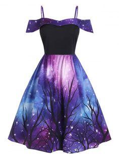 DressLily Plus Size Galaxy Tree Print Hanky Hem Dress Cute Prom Dresses, Dresses For Teens, Ball Dresses, Pretty Dresses, Short Dresses, Girls Fashion Clothes, Teen Fashion Outfits, Girl Outfits, Fashion Dresses
