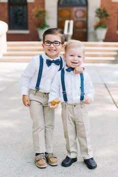 Ring Bearers with Blue Bow Ties and Suspenders