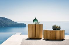 Hexagon Low and High designed by Marc Merckx Pool Furniture, Outdoor Furniture, Outdoor Decor, Hexagon Sides, Ms Project, Fireplace Set, Pot Lights, Teak Table, Low Tables