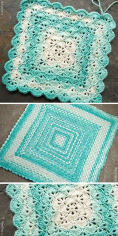 Classic shells are worked from the center to make lovely baby blanket. Ombre yarn will be perfect for this project! design by Lahoma Jayne Nally, this version and photo by GreyFrog Crochet Shell Blanket, Crochet Baby Blanket Free Pattern, Crochet Shell Stitch, Baby Afghan Crochet, Single Crochet Stitch, Crochet Yarn, Easy Crochet, Free Crochet, Booties Crochet