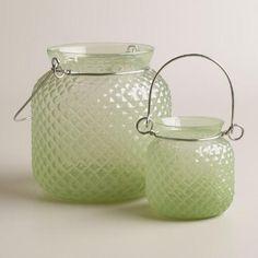 Green Opaque Glass Honeycomb Lantern | World Market