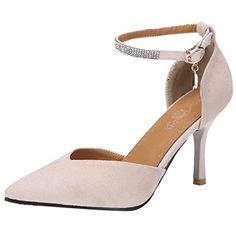 AIYOUMEI Femme Escarpins Stiletto Bout Pointu Bride Cheville a Strass  Sandales Velours Élégant pour Journé Travail. Chaussures Femme 06bc4f647a15
