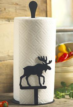 Log Home Decorating Moose Paper Towel Holder