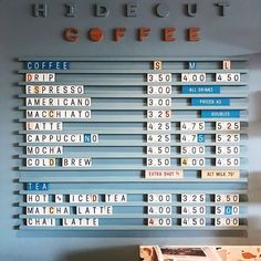Another morning, another cute coffee haunt. Cafe Interior Design, Cafe Design, Store Design, Coffee Shop Menu, Coffee Shop Design, Deco Design, Display Design, Menu Board Design, Signage Design