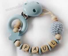 Pacifier chain clip Dummy holder keeper by mamasliebchen on Etsy