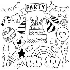 Mano dibujada fiesta doodle feliz cumple...   Premium Vector #Freepik #vector #fondo