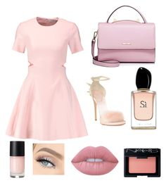 """Girly"" by amy1907murray ❤ liked on Polyvore featuring Elizabeth and James, Giuseppe Zanotti, WithChic, Lime Crime, NARS Cosmetics and Armani Beauty"