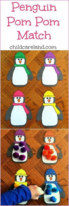 Penguin Pom Pom Match - Easy color recognition activity for winter