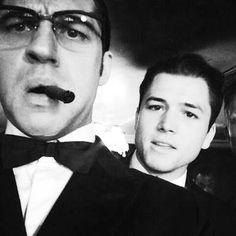 #TomHardy & #TaronEgerton #happysunday ❤❤ . . #Tbt#legend#movie#film#selfie#kraytwins#reggie#ronnie#kray#tomhardyfans#tomhardyfamily#hardyfans#hardyfamily#hardypics#tomhardypics#taronegertonfans#glasses#blackandwhite#gangsters#lovetomhardy#bae