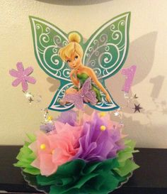 Tinkerbell Cake Topper, Tinkerbell Party Theme, Tangled Party, Birthday Party Centerpieces, Fairy Birthday Party, Birthday Decorations, Birthday Party Themes, Princess Birthday, Minnie Mouse Party