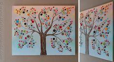 Дерево из разноцветных пуговичек. Полезный досуг с ребенком.