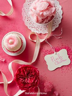 A light-as-air pairing of soft pink petals & vanilla chiffon icing. #PinkChiffon