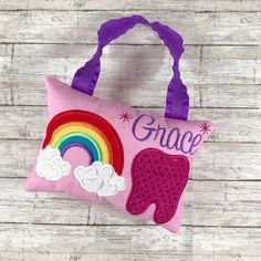 Tooth Fairy Pillow with Bow or Mustache Made to Order Dental Gift Baby Teeth Any Color Night and Day Crochet