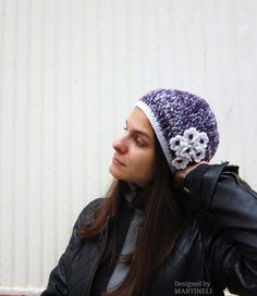 Purple and White Crochet Slouchy Beanie Slouchy by MARTINELI