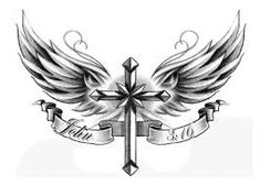 Image result for cross with wings tattoo woman