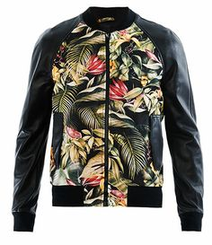 Ami Floral-print and leather bomber jacket Floral Bomber Jacket, Bomber Jacket Men, Bomber Jackets, Man Jacket, Team Jackets, Men's Jackets, Leather Jackets, Urban Fashion, Nike Clothes
