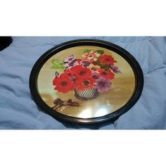 On Sale Red Poppy Flower Round Serving Home Decor Serving Tray (6.68 AUD) ❤ liked on Polyvore featuring home, kitchen & dining, serveware, red serving tray, serving tray, circular serving tray, red serveware and round serving tray