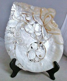 Antique Chinese Carved Mother of Pearl MOP Shell with Flowers Pearls 8 7"