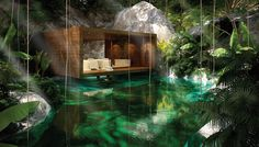 A rendering of one of the spa's 14 cenote-adjacent treatment rooms.
