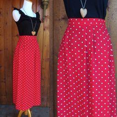 Polka Dot Maxi Skirt High Waisted Elastic Waist Red Minnie Long Skirt Pockets Vintage 80s 1980s Nautical Rockabilly Retro Pinup Size Medium