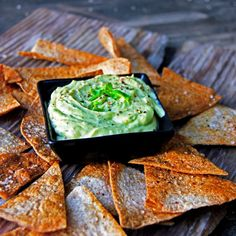Creamy  Spicy Avocado Greek Yogurt Dip with Homemade Baked Tortilla Chips | A Bachelor and His Grill