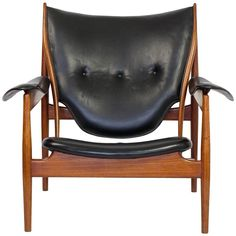 Finn Juhl 'Chieftain Chair' for Niels Vodder in Original Black Leather, 1949 | From a unique collection of antique and modern armchairs at https://www.1stdibs.com/furniture/seating/armchairs/