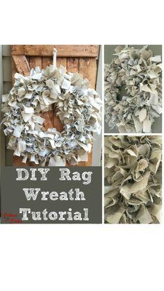 Wreath Crafts, Diy Wreath, Burlap Wreath, Wreath Making, Craft Ideas, Craft Tutorials, Diy Ideas, Craft Projects, Rag Wreath Tutorial