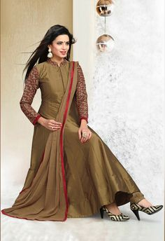 a4a6bd7ab099 Readymade Tan Brown Art Silk Anarkali Shalwar Suit