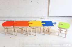 HomeMade Modern DIY Puzzle Stool bench OH! This would be GREAT for large families!