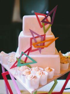 This is how to impress everyone, with a minimalist geometric wedding cake. | A Colourful DIY Beach Wedding In Australia | Weddingbells